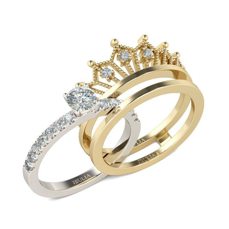 925 sterling silver 2 in 1 round cut crown sound ring