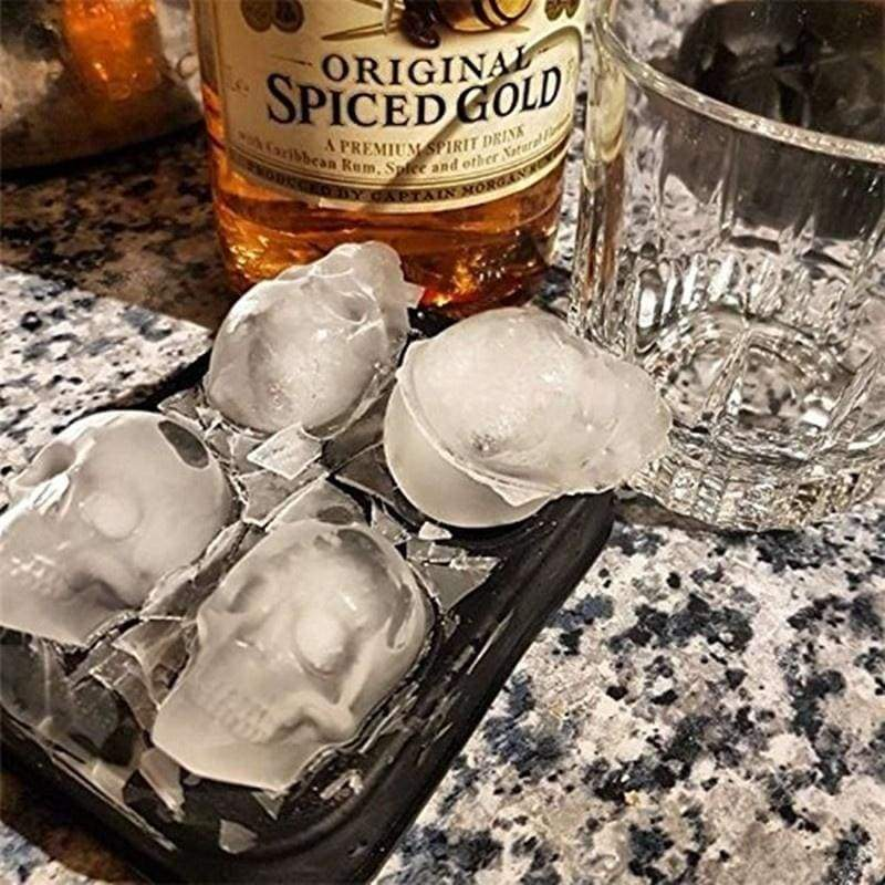 DIY Ice Mold 3D Halloween Skull Shape Silicone Ice Ball Trays Ice Cube Maker Mold