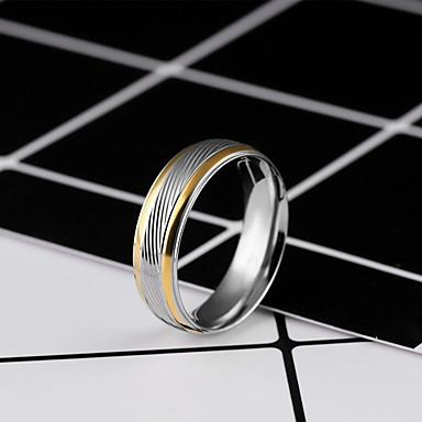 Men's Band Ring 1pc Silver Titanium Steel Line Simple Wedding Daily Jewelry Two tone Double Twine Wave Cool