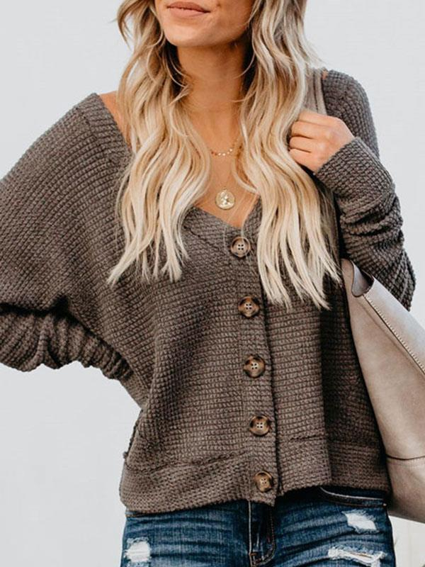 Women button batbow sleeve knit sweaters