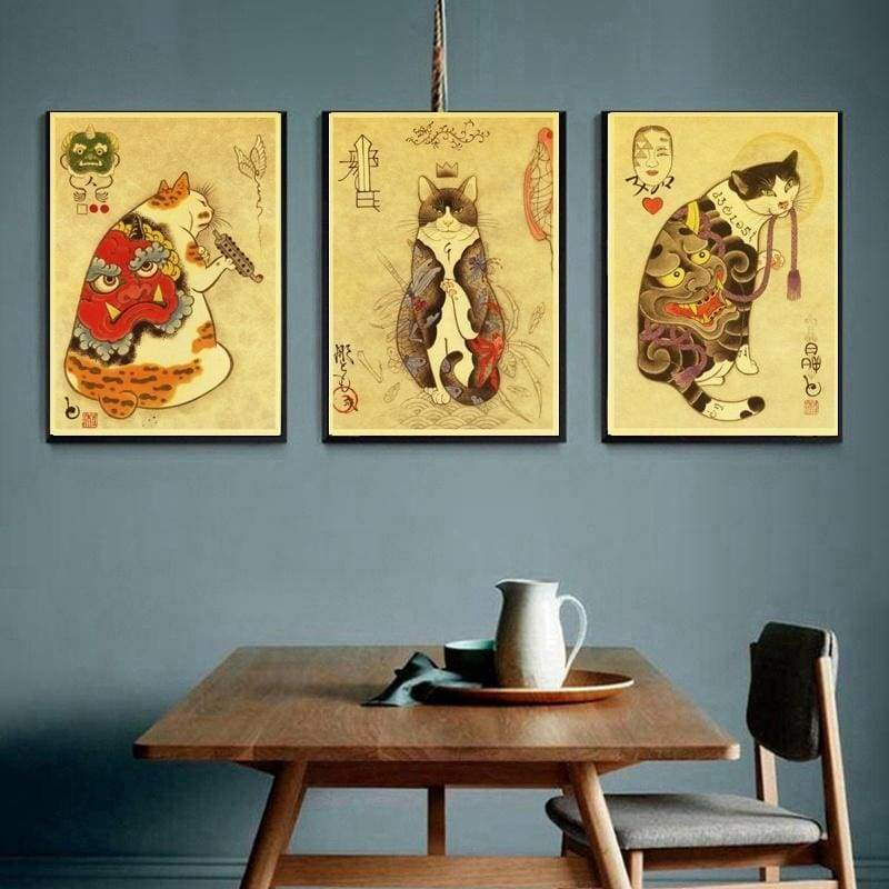 Japanese samurai cat tattoo cat vintage poster retro wall art sticker painting living room decoration bedroom printed Poster