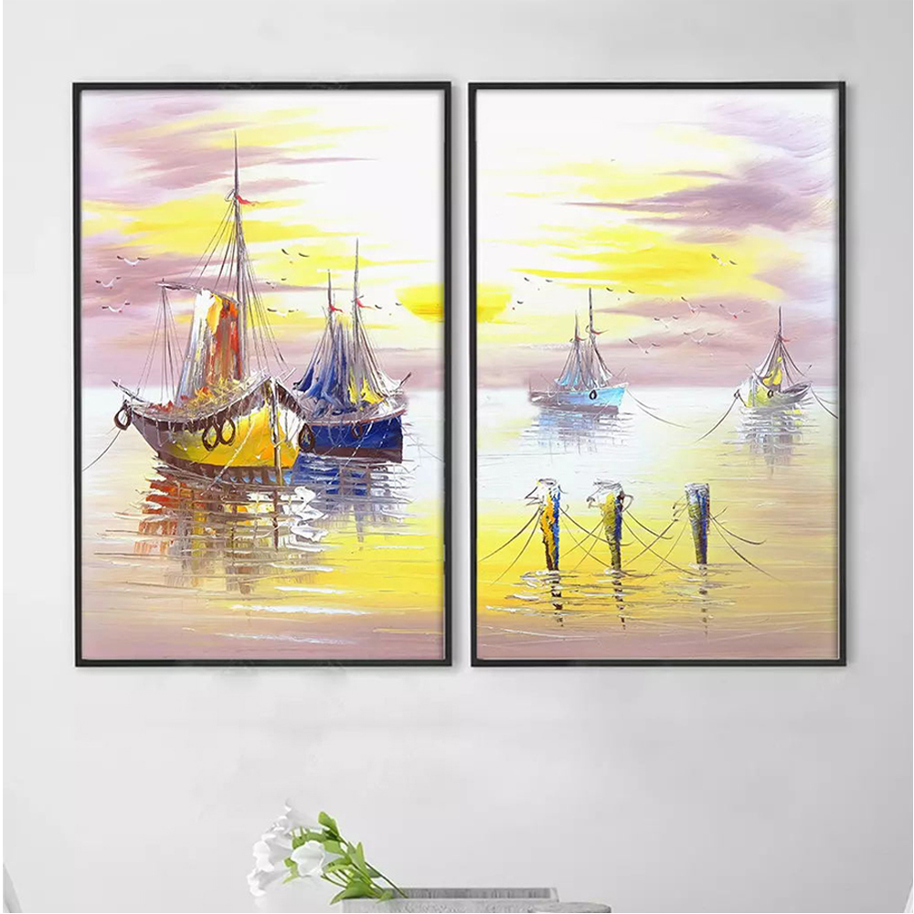 Hand painted warm color sea sailboat canvas abstract oil painting art decoration wall oil painting art