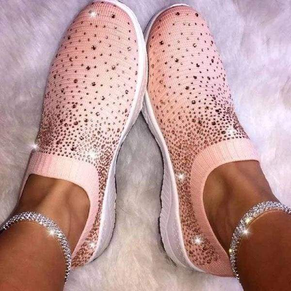 Black White Pink Sparkly Shiny  Flats Slip On Women Shoes Breathable Knit Women Sneakers Plus Size