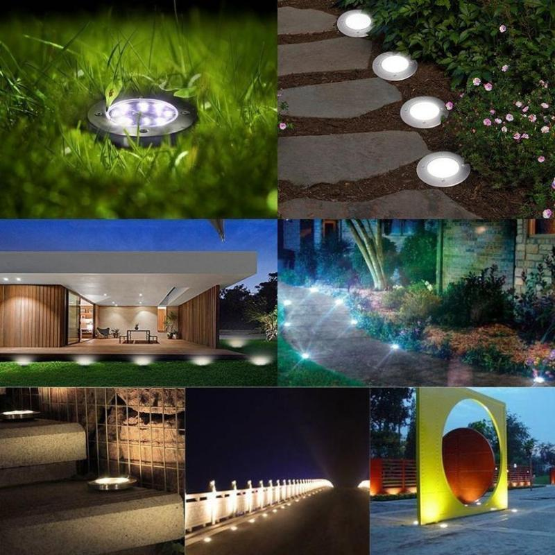 Upgraded Waterproof Solar Power In-Ground Lights for Lawn Pathway Yard