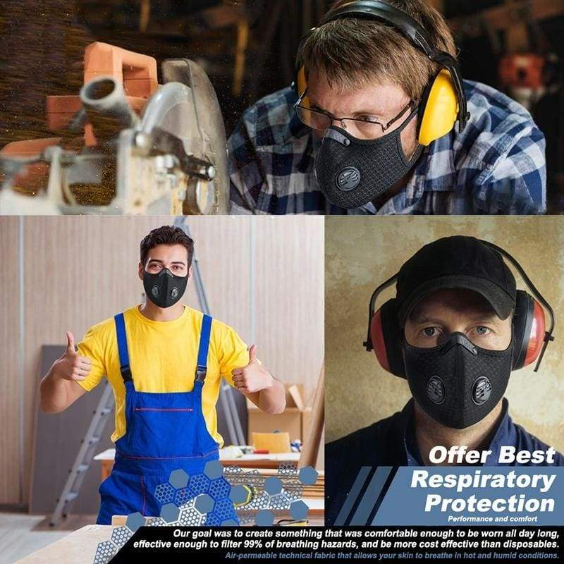 Sport Fashion face Mask Dust Breathing Mask Activated Carbon Dustproof Mask for Woodworking Mowing Running Cycling Outdoor Activities