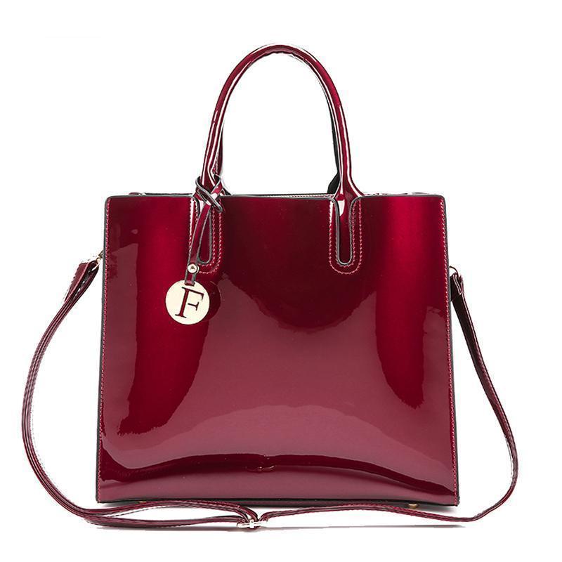 Bright Solid Patent Leather Tote Bag