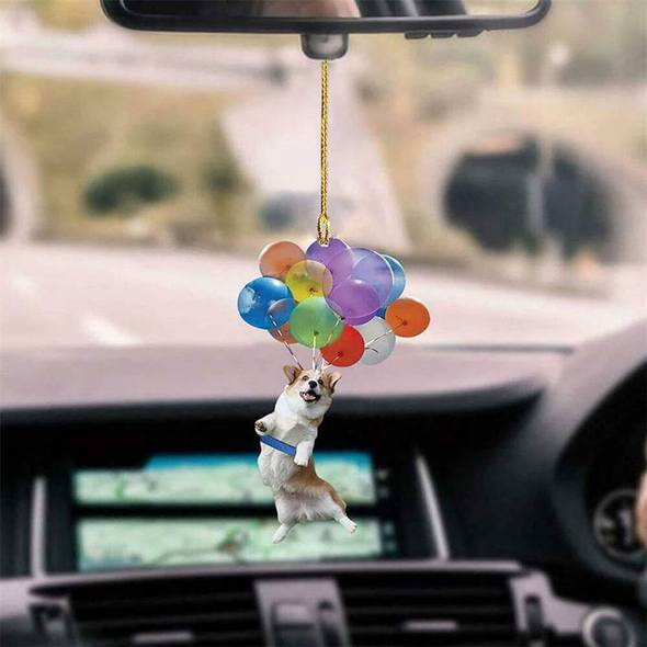 Corgi Dog Fly With Bubbles Car Hanging Ornament