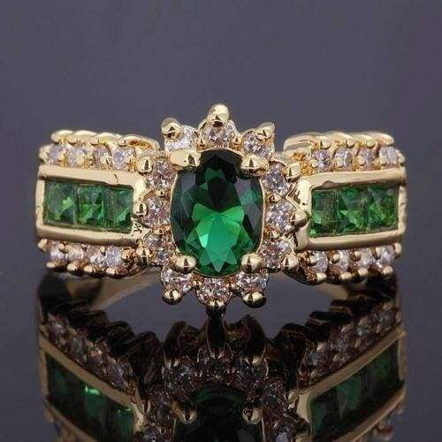 Fantastic Size 6 7,8,9,10,Engagement Emerald 10KT Gold Filled Woman's Ring