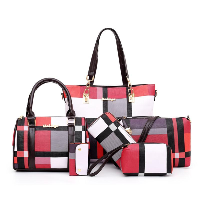2020 new leather bags handbags 6 pieces functional set portable large capacity wear resistant