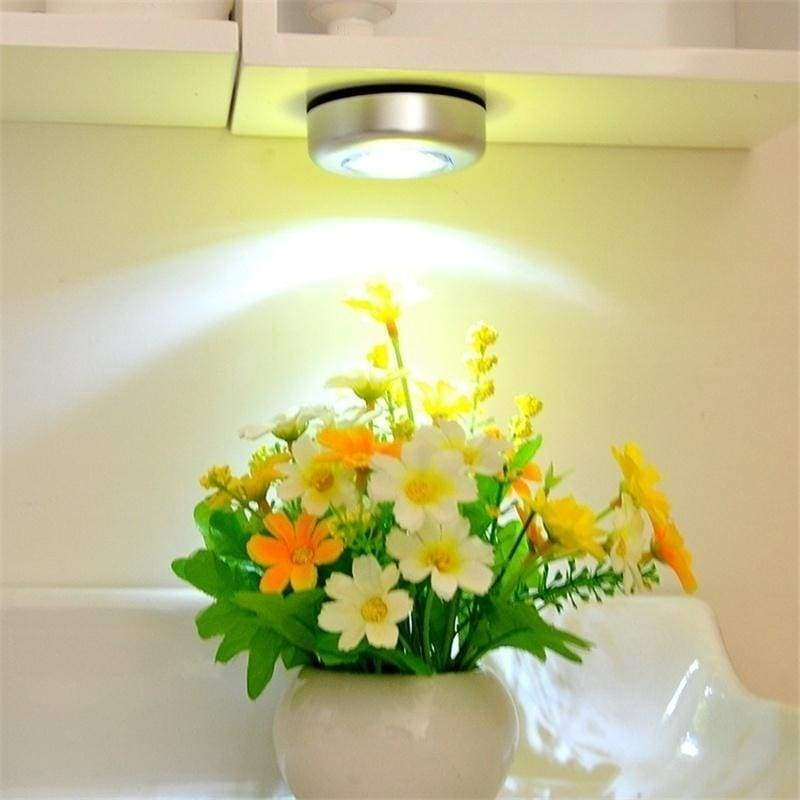 3 LED Wall Light Kitchen Cabinet Closet Lighting Sticker Tap Touch Lamp( not included Battery)