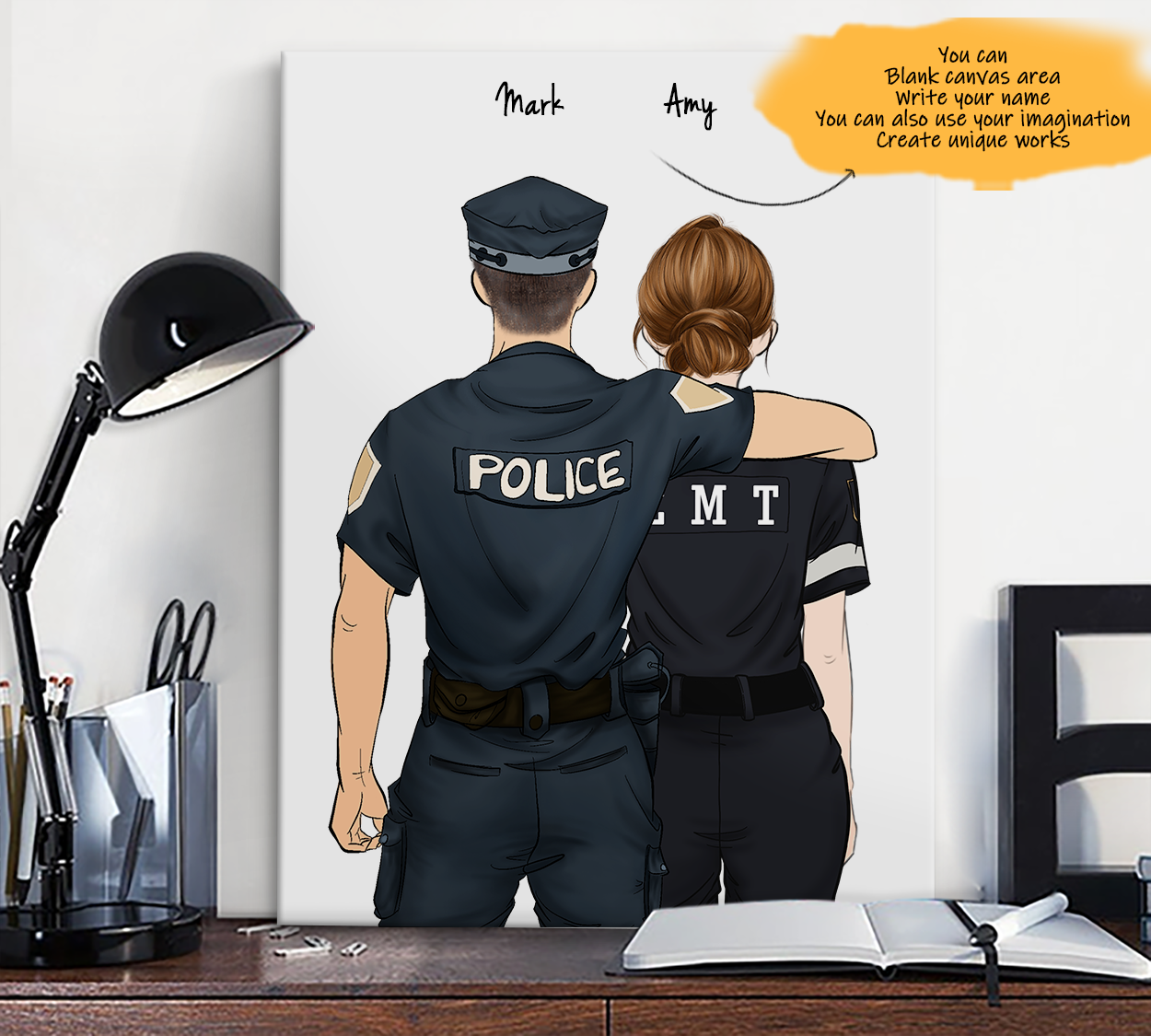 He is My Friend! Hand Draw Custom Canvas-Print Gift Police-Light&EMT