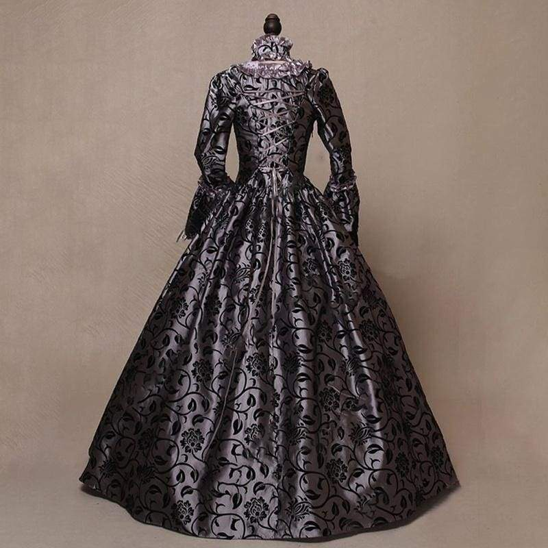 Fashion Long Sleeve Bell Sleeve Cosplay Medieval Retro Dress High Waist Elegant Vestido Victorian Renaissance Long Dress
