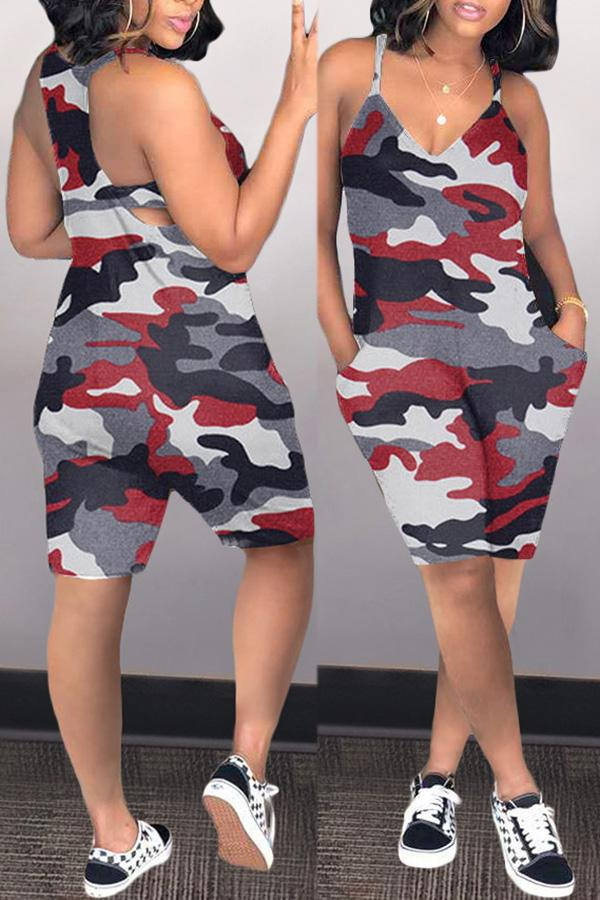 Sling Casual Camouflage Romper