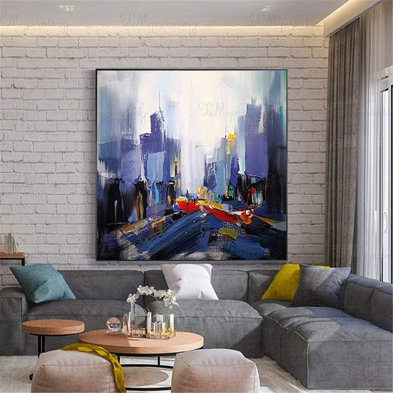 New York city landscape abstract painting on canvas gold art wall art picture for living room home wall decor original acrylic thick texture