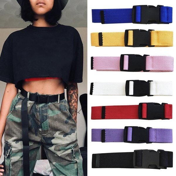 Unisex New Fashion Outdoor Nylon Adjustable Canvas Belt with Pin Buckle Cargo Pants Combat Trousers Belt