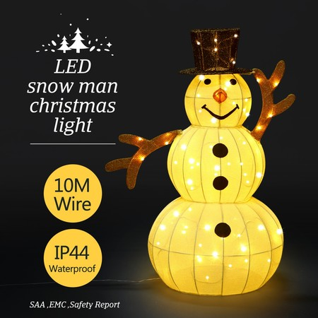 3D Snowman Christmas Light 10M LED Rope Fairy Xmas Decor Figure w/Hat - White