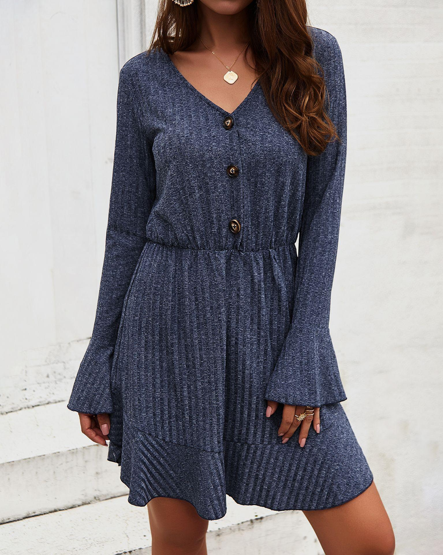 Elegant Basics Long Sleeve V Neck with Dresses