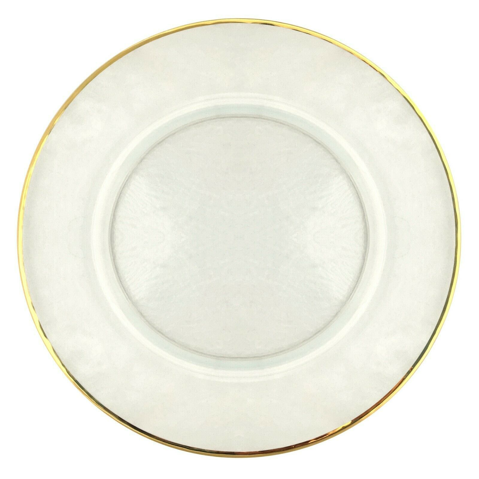 Set/12 GILT 24K Gold Rim Hammered Glass Charger Plate