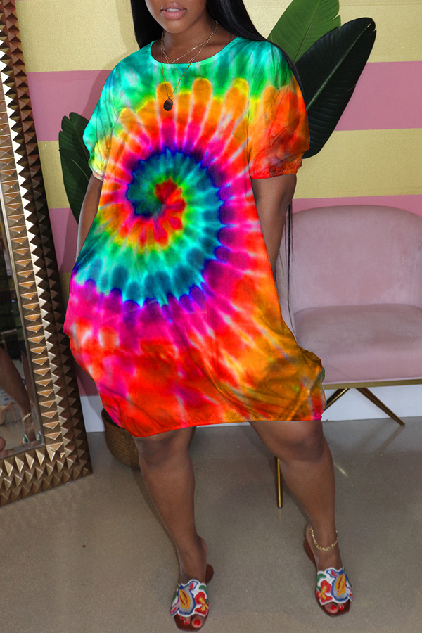 Multicolor Tie-dye Spiral Loose Dress
