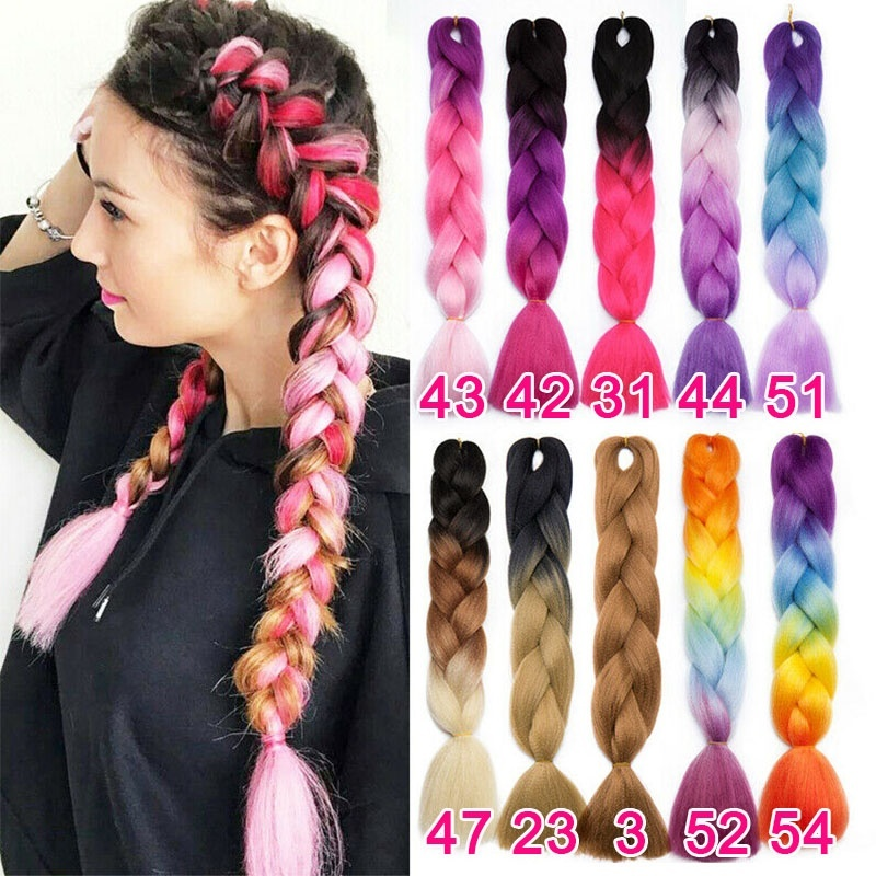 64 Colors 24'/41' Synthetic Jumbo Braids Crochet Hair Ombre Colors Kanekalon Braiding Hair Extensions
