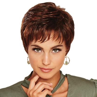 KAMI 173 Natural Layered Short Wigs Pixie Cut Straight Cropped Wig for Women