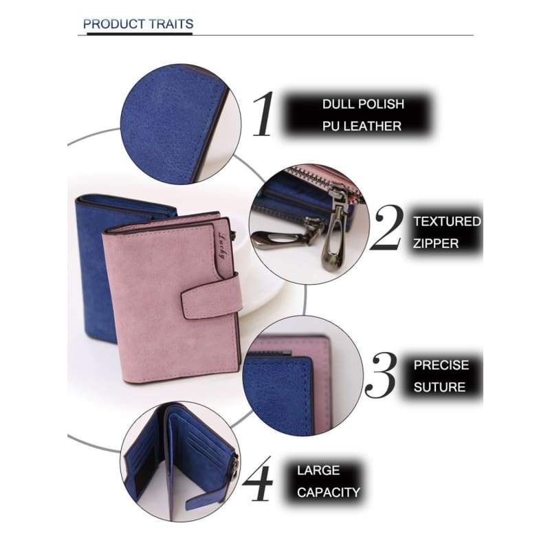 Women Fold Leather Wallets Solid Color Letter Snap Fastener Zipper Short Clutch Wallet