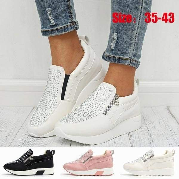 Women Fashiong Breathable Wedge Heels Shoes Casula Platform Shoes Lady Comfortable Slip on Walking Sneakers Shoes