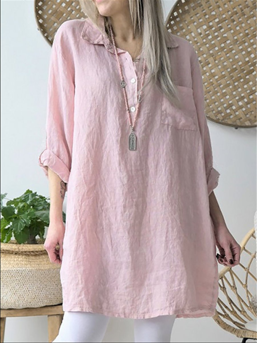 Women Solid Casual V Neck Shirts