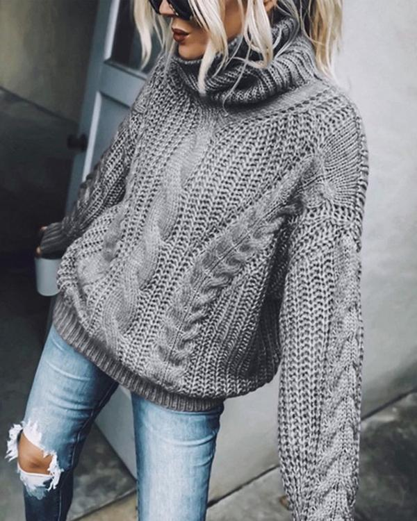 Sweater Solid Color Turtleneck Knitted Top Women's Sweater