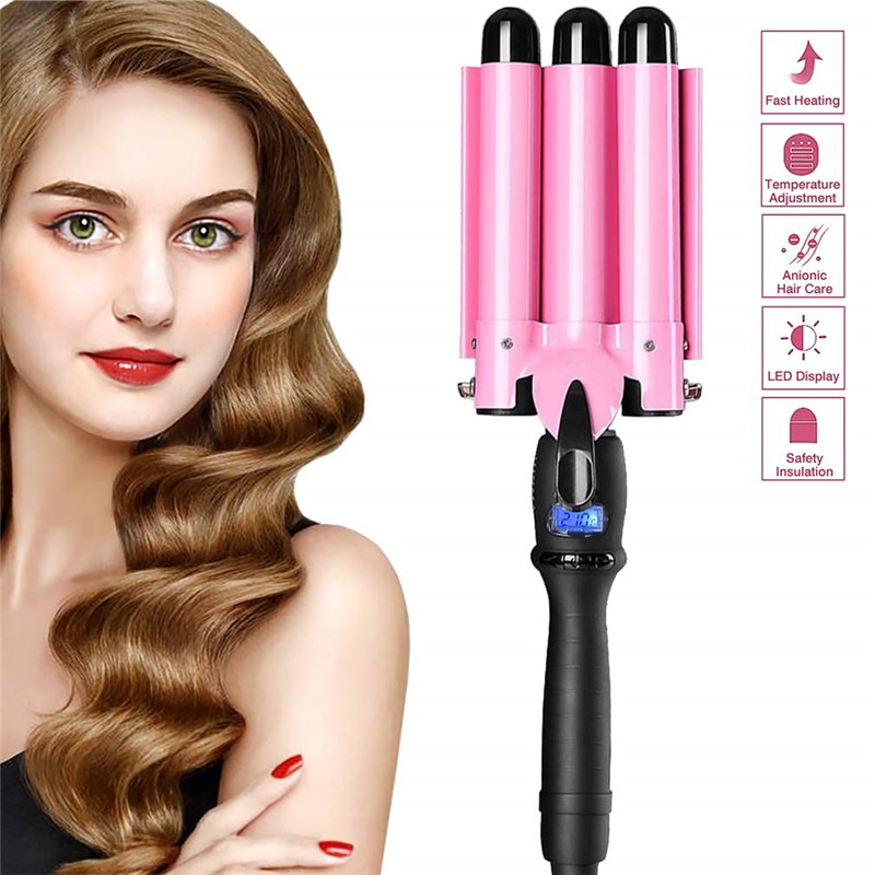 25cm Pink Three Barrel Curling Iron Wand With LCD Display