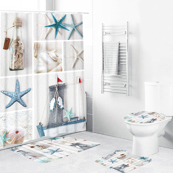 1/3/4Pcs Nordic Summer Beach Starfish Bathroom Curtains Print Mildew-proof Waterproof Shower Curtain for Washroom Bathroom Decoration
