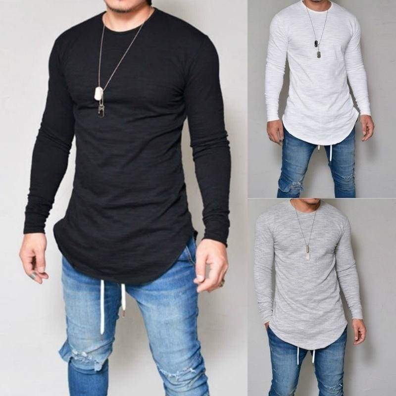 Men Casual T Shirt Cotton Long Sleeve O-Neck Silm Fit T-shirt Mens Fashion Solid Color S-XXXL