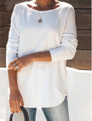 Long Sleeve Solid Casual Women T-Shirts