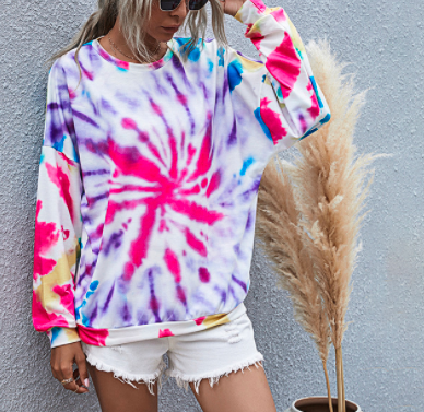 Autumn and winter women's digital printing round neck knitted long-sleeved tie-dye sweater