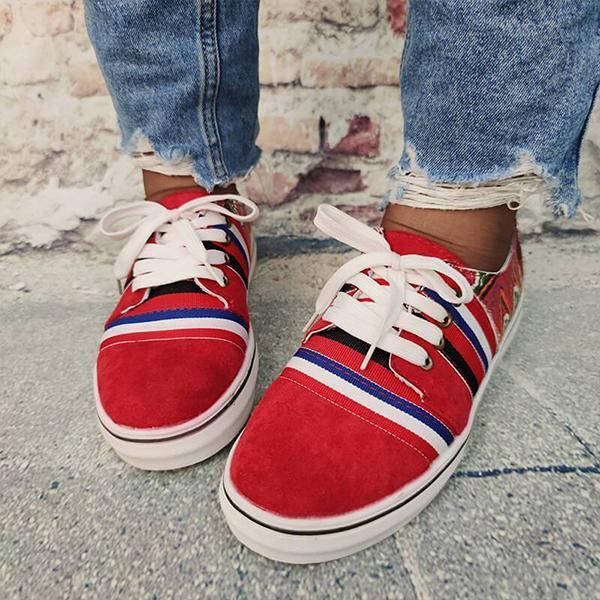 Lemmikshoes Women Canvas National Print Lace-up Red Sneakers