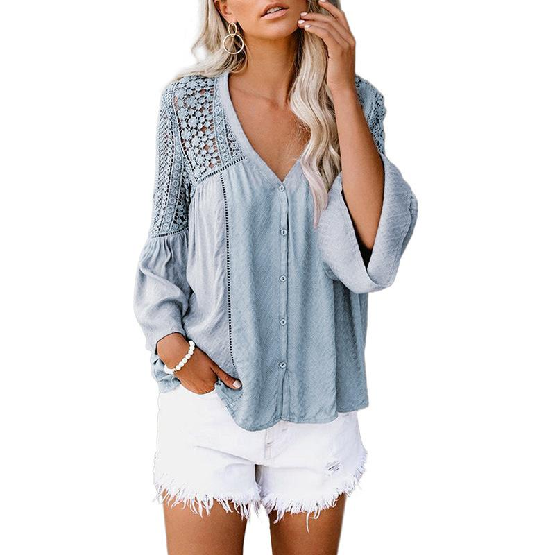 Women Solid Lace Hollow Out Flare Sleeve Top
