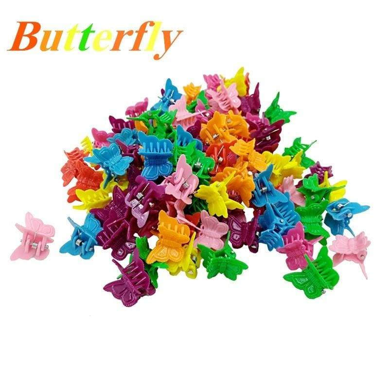 100pcs/50pcs/20pcs Butterfly flower Hair Clips Claw Barrettes Mixed Color Mini Clamps Jaw Hairpin Headdress Hair Styling Accessories Tool