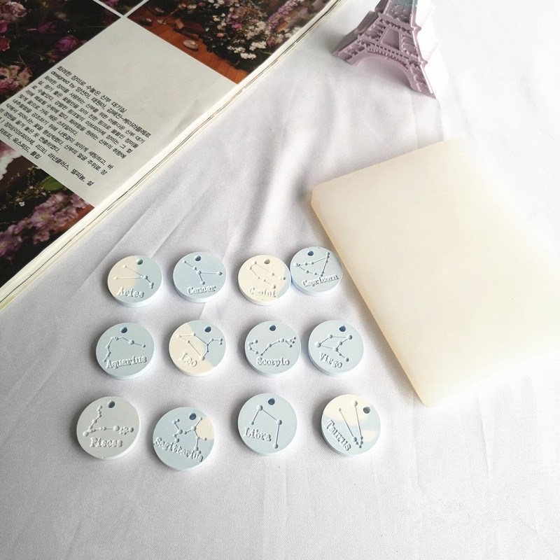 12 Constellations Pendant Epoxy Resin Silicone Mold Jewelry Making Tools