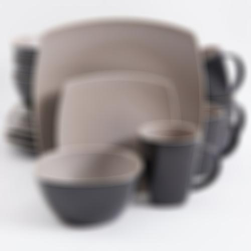 Gibson Elite Soho Lounge Matte Glaze 16 Piece Dinnerware Set in Taupe; Includes