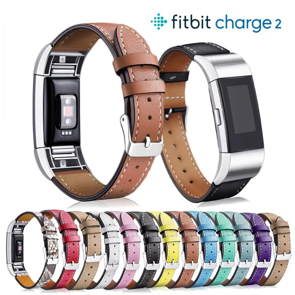 Replacement Fitbit Charge 2 Bands Leather Straps Band Interchangeable Smart Fitness Watch Band With Stainless Frame for Charge 2