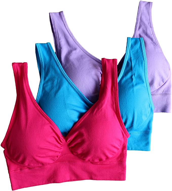 FREE SHIPPING - Cabales Women's 3-Pack Seamless Wireless Sports Bra with Removable Pads