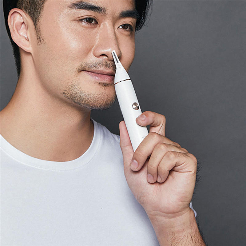 Nose Hair Trimmer Eyebrow Clipper Sharp Blade Cordless Nasal Cleaner White