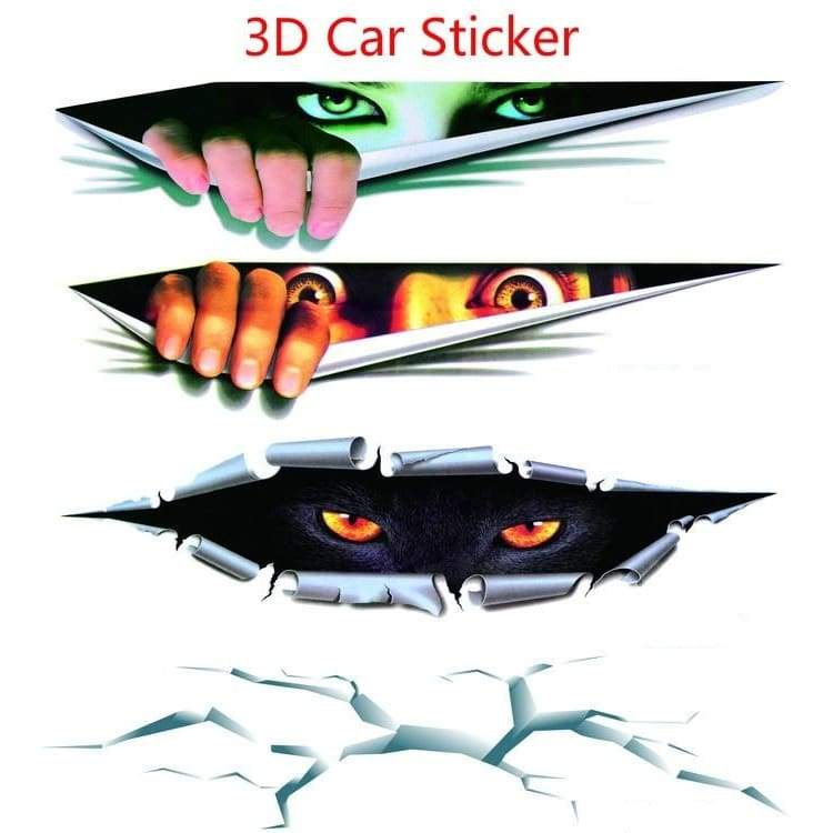 Car Styling 3d Stereoscopic Simulated Eye Peep Car Sticker Car Window Tail Door Sticker Waterproof Body Decor Sticker