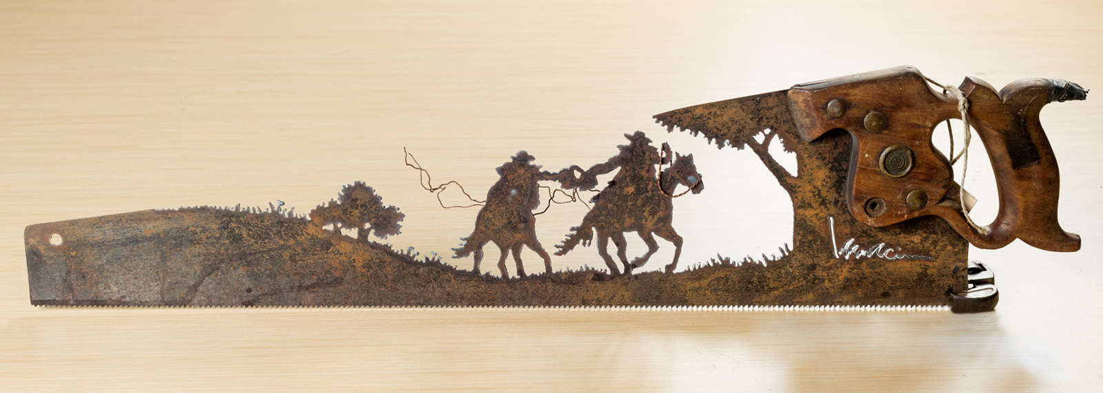 Father's Day Unique Gift&Metal Art Roping a Calf design - Wall Decor