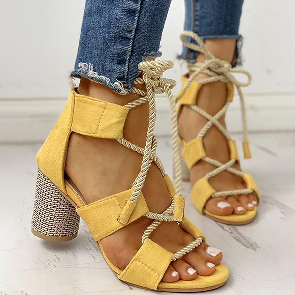 Faddishshoes Colourblock Lace-up Chunky Heels Open Toe Sandals