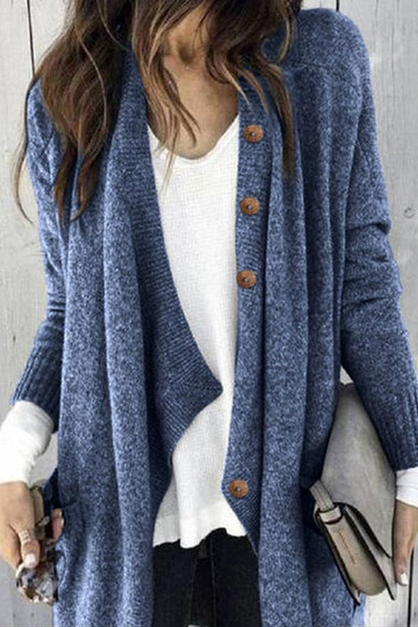 Paneled Solid Buttoned Casual Knitted Cardigans