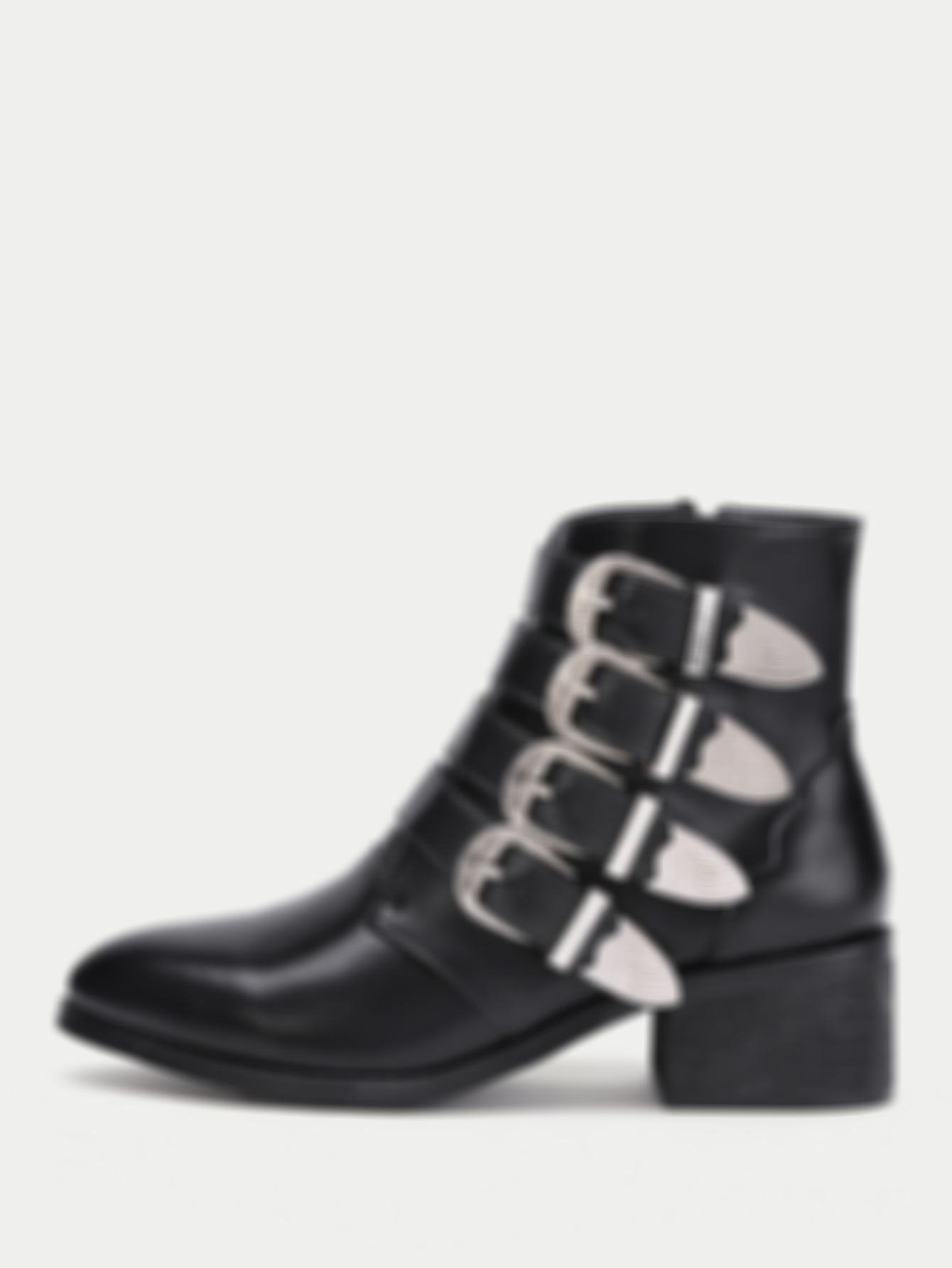 Buckle Decorated Side Zipper Ankle Boots