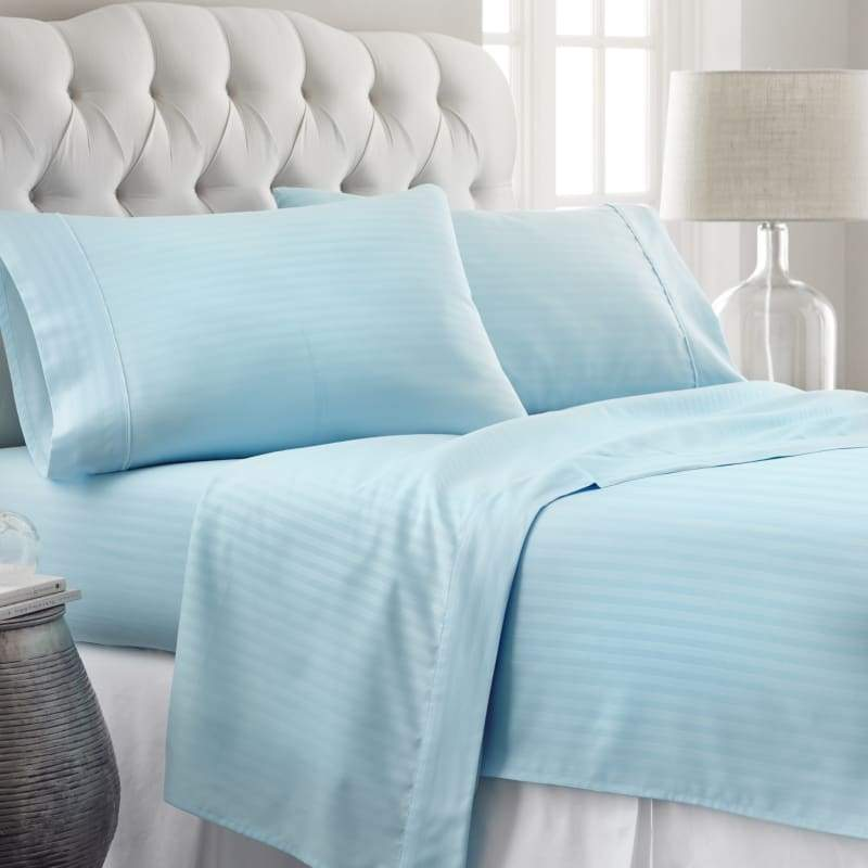 Home Collection Premium Ultra Soft Striped Design 4 Piece Bed Sheet Set - Hypoallergenic - Wrinkle Free - Luxurious 4 Piece Bed Sheets Set