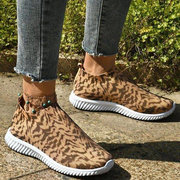 Zoeyootd Casual Athletic Flyknit Fabric Animal Print Slip On Sneakers