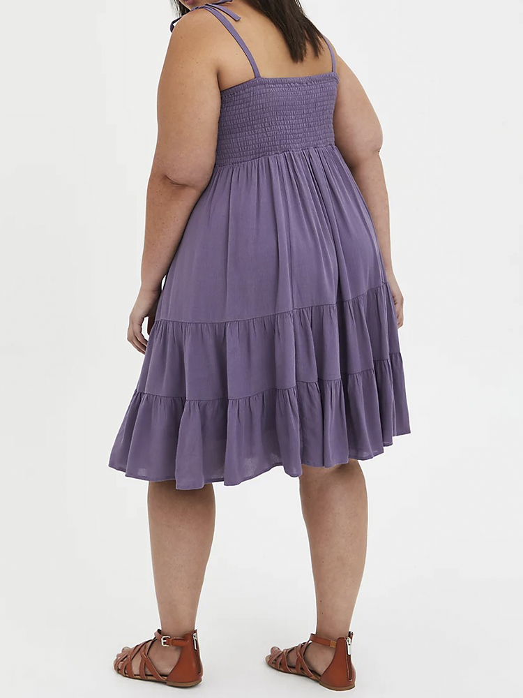 Solid Color Pleated Plus Size Dress